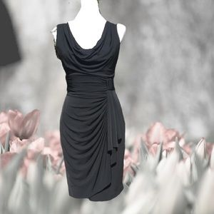 Sleeveless Cocktail Party Draped Faux Wrap Dress 6